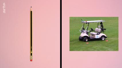un crayon et une voiture autonome